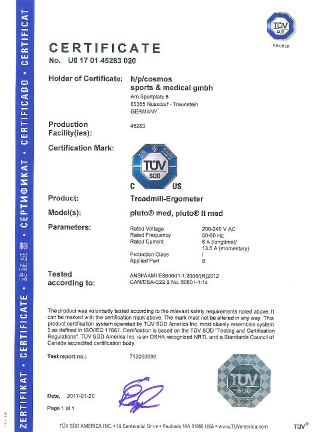 NRTL Zertifikat - Geraetefamilie 150/50 LC (pluto med, pluto lt med)