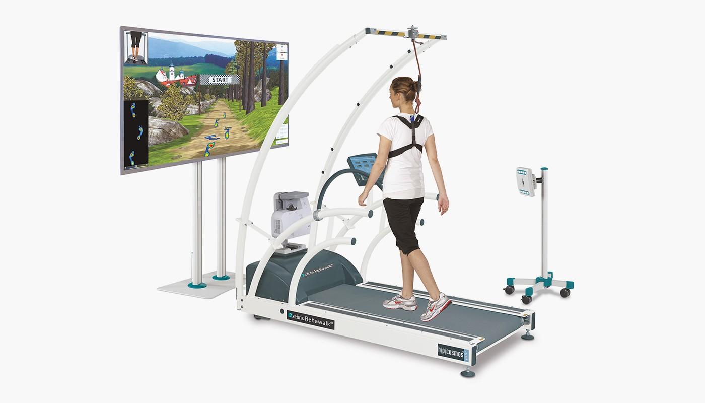 zebris Rehawalk with h/p/cosmos treadmill for neurological rehab